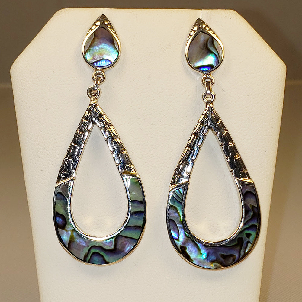 Abalone Dangle Silver Earrings