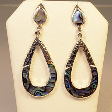 Load image into Gallery viewer, Abalone Dangle Silver Earrings