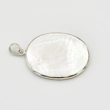 Load image into Gallery viewer, Double-sided Abalone/Mother of Pearl or Abalone/Coral Sterling Silver Oval Pendant