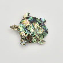 Load image into Gallery viewer, Abalone and Sterling Silver Turtle Pendant/Brooch