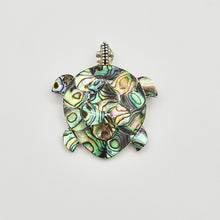 Load image into Gallery viewer, Abalone and Sterling Silver Turtle Pendant/Brooch. Abalone turtle pendant or pin. Or brooch. wear it on a chain or on a scarf. About an inch and a half.