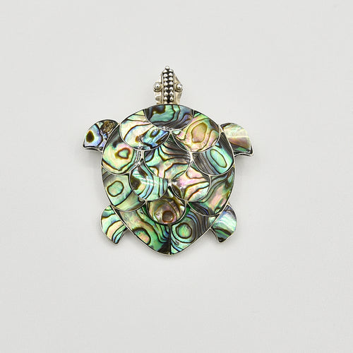 Abalone and Sterling Silver Turtle Pendant/Brooch. Abalone turtle pendant or pin. Or brooch. wear it on a chain or on a scarf. About an inch and a half.