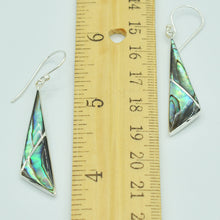 "Load image into Gallery viewer, Abalone Sterling Silver pierced geometric shape Earrings, fish hook pierced earrings About 2"" long. Bluey green shiny abalone."