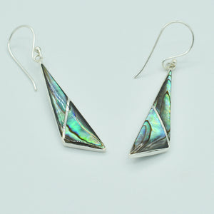 "Abalone Sterling Silver pierced geometric shape Earrings, fish hook pierced earrings About 2"" long. Bluey green shiny abalone."