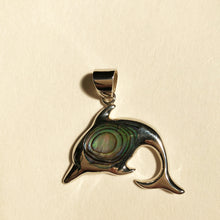 Load image into Gallery viewer, Abalone Sterling Silver Dolphin Pendant. Shiny sterling silver dolphin pendant with abalone shell in the center