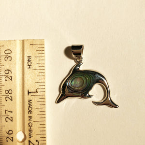 Abalone Sterling Silver Dolphin Pendant. Shiny sterling silver dolphin pendant with abalone shell in the center