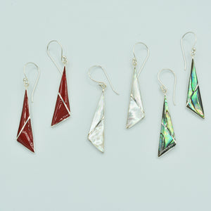 Abalone or Red Coral or Mother of Pearl Sterling Silver Earrings