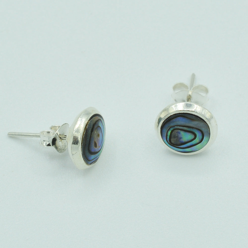 Round Sterling Silver Abalone Stud Earrings