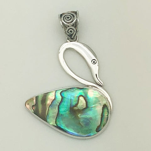 Abalone Silver Swan Pendant