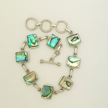"Load image into Gallery viewer, Abalone Sterling Silver adjustable toggle Bracelet 7""-8.5"". Rectangle shape pieces of Abalone"