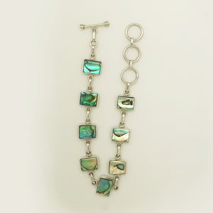 "Abalone Sterling Silver adjustable toggle Bracelet 7""-8.5"". Rectangle shape pieces of Abalone"