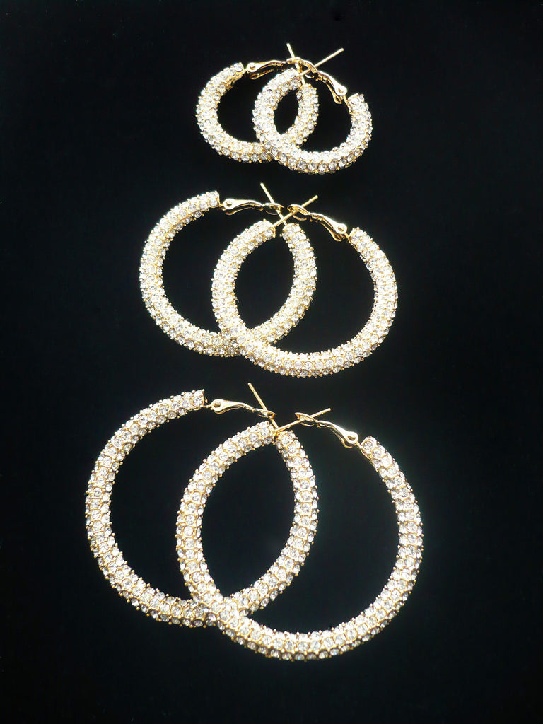Swarovski® Crystal Hoop Earrings RHODIUM or GOLD PLATED