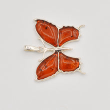 Load image into Gallery viewer, Sterling Silver Cognac Amber Butterfly Pendant