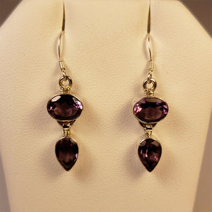 Amethyst Silver Dangle Earrings