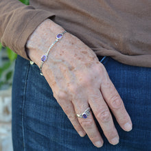 Load image into Gallery viewer, Amethyst Sterling Silver Toggle Clasp Bracelet