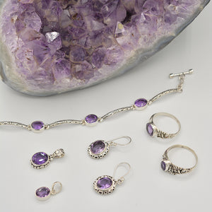 Amethyst Sterling Silver Toggle Clasp Bracelet