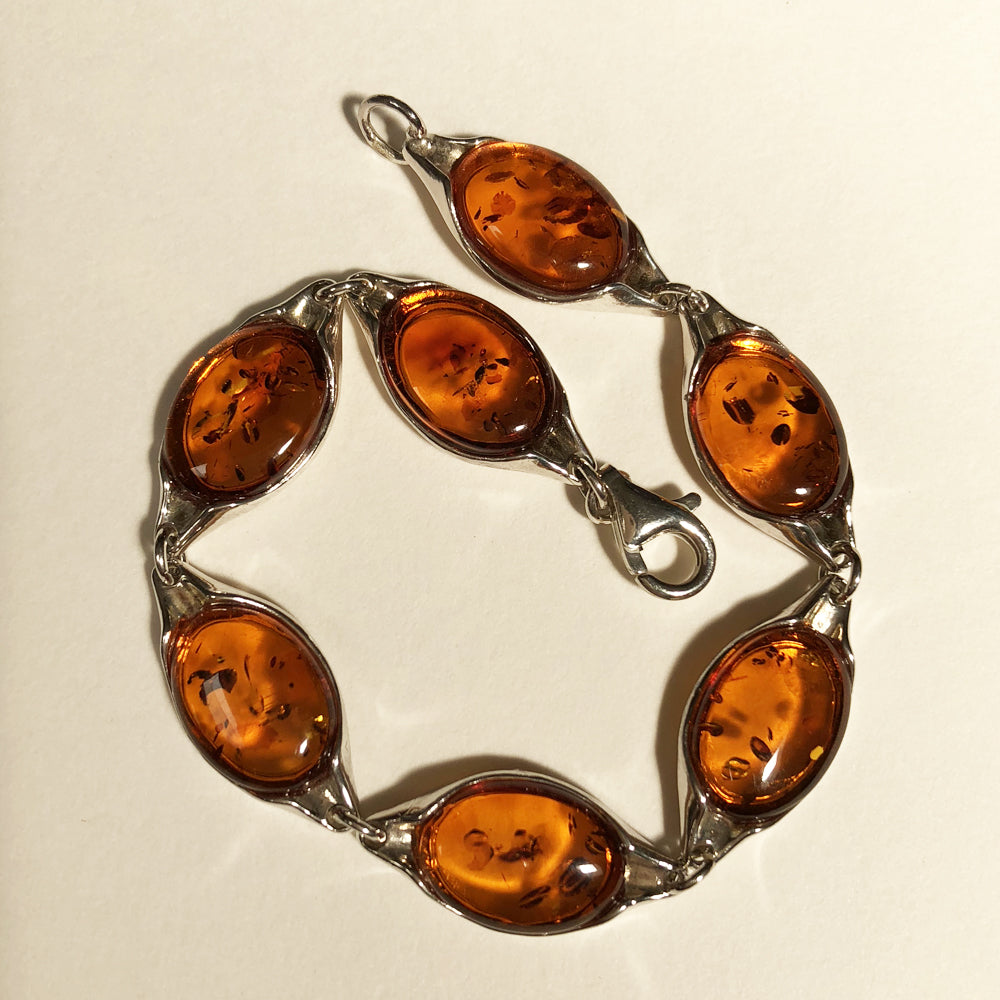 "One of a Kind 7"" Baltic Amber Silver Bracelet"