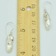 Load image into Gallery viewer, Bewa Pearl sterling Silver Fish Hook Pierced Earrings. one inch long