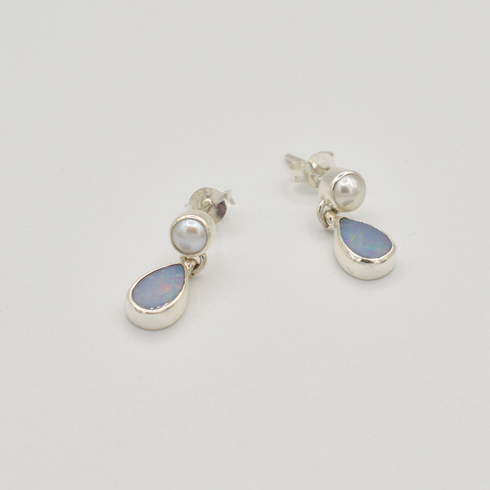 Opal and Pearl Sterling Silver Stud Earrings