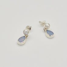 Load image into Gallery viewer, Opal and Pearl Sterling Silver Stud Earrings