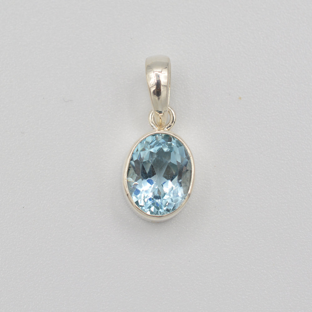 Blue Topaz and Sterling Oval Pendant