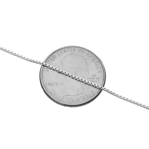 "1MM Sterling Silver Box Chain with Lobster Claw Clasp. Displayed over a quarter to show you the size of the width of the chain. 16""-36"""