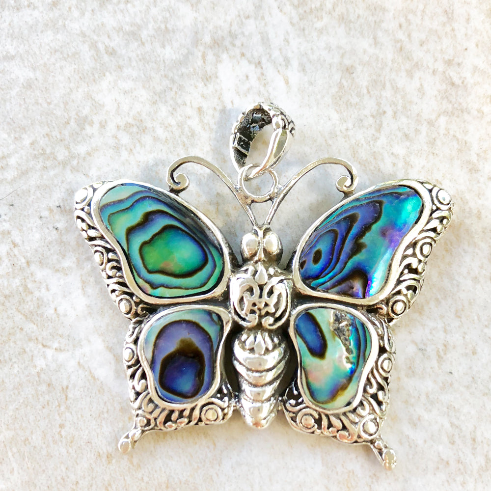 Sterling Silver Abalone Butterfly Pendant