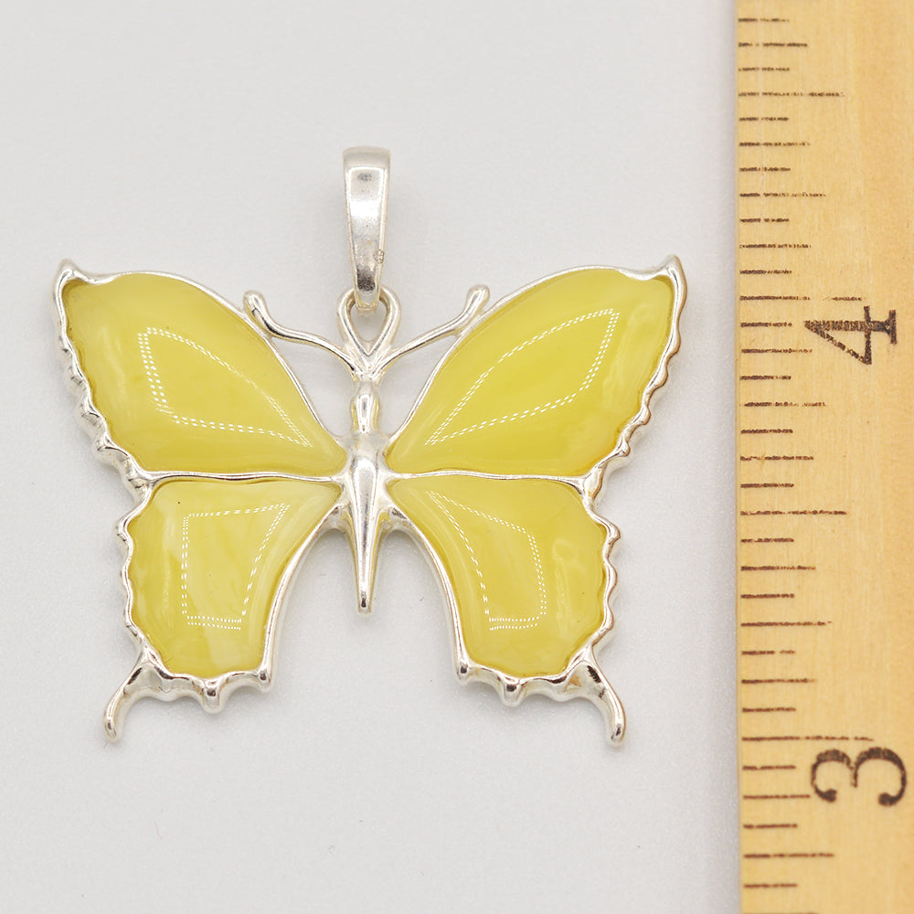 Image of Sterling Silver Butterscotch Amber Butterfly Pendant