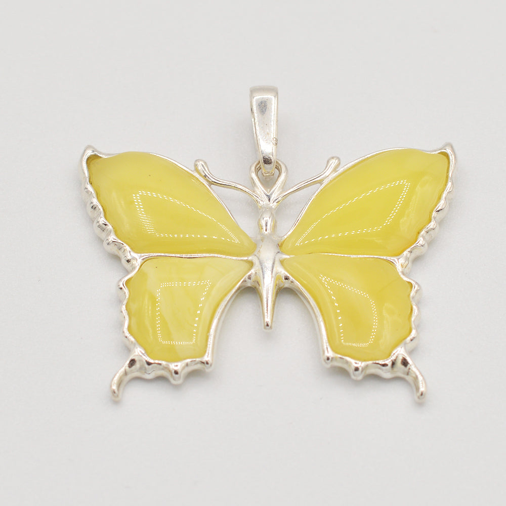 Sterling Silver Butterscotch Amber Butterfly Pendant