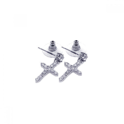 Sterling Silver 925 Rhodium Plated Clear Cross CZ Stud Earrings