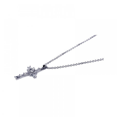 Sterling Silver Rhodium Plated Clear Baguette CZ Cross Pendant Necklace