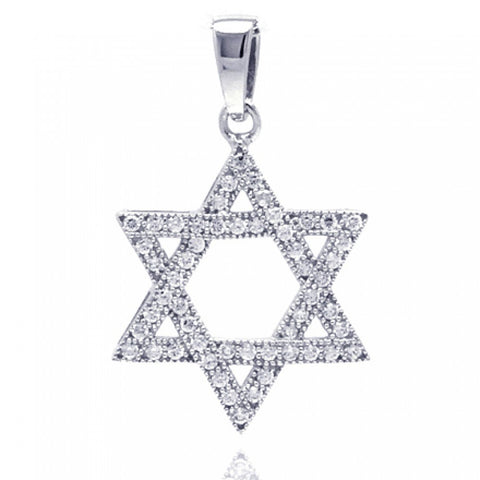 Sterling Silver Rhodium Plated Star of David CZ Dangling Pendant with Chain