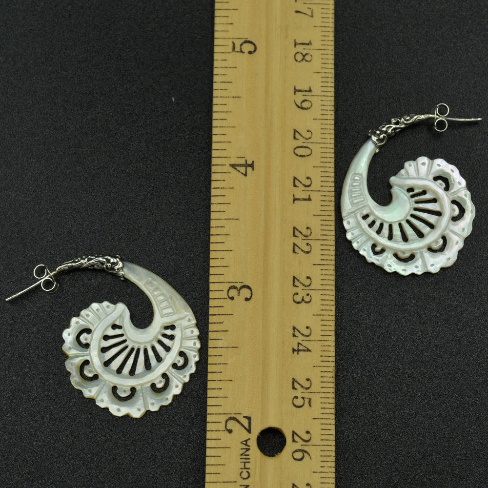 Mother of Pearl Sterling Silver Earrings Hand Carved-2 styles