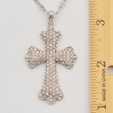 Load image into Gallery viewer, Swarovski Clear Crystal Pave' Cross- Rhodium Plated