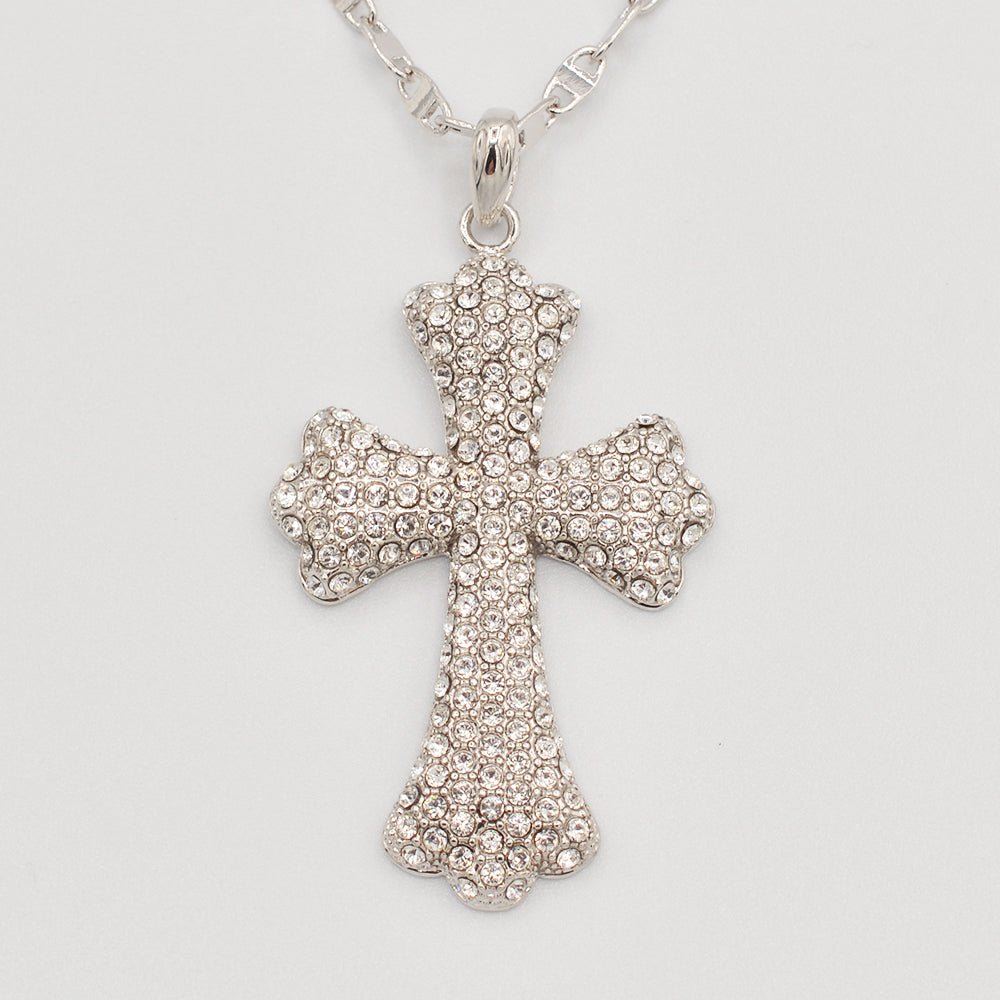 Swarovski Clear Crystal Pave' Cross- Rhodium Plated