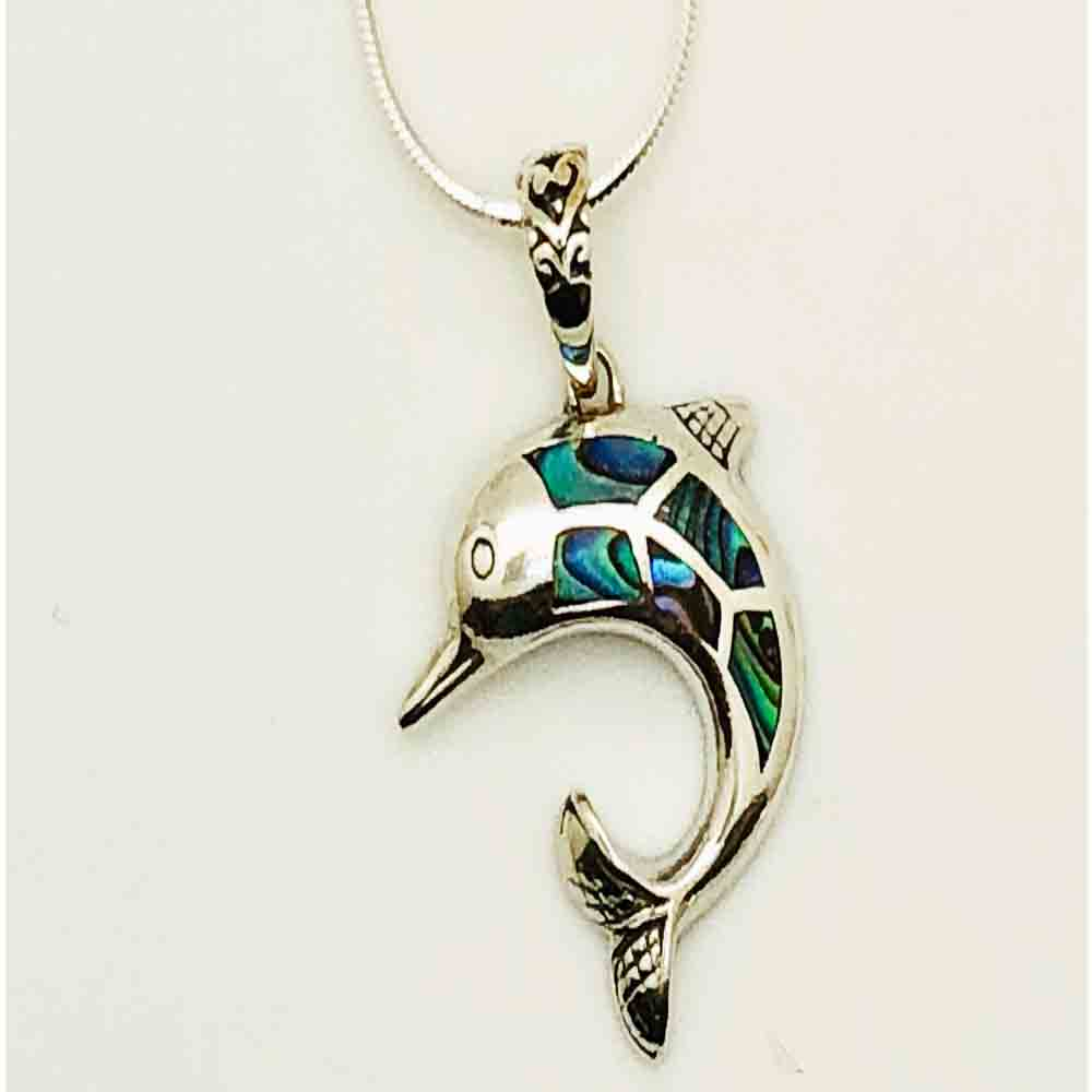 Abalone and Sterling Silver Dolphin Pendant