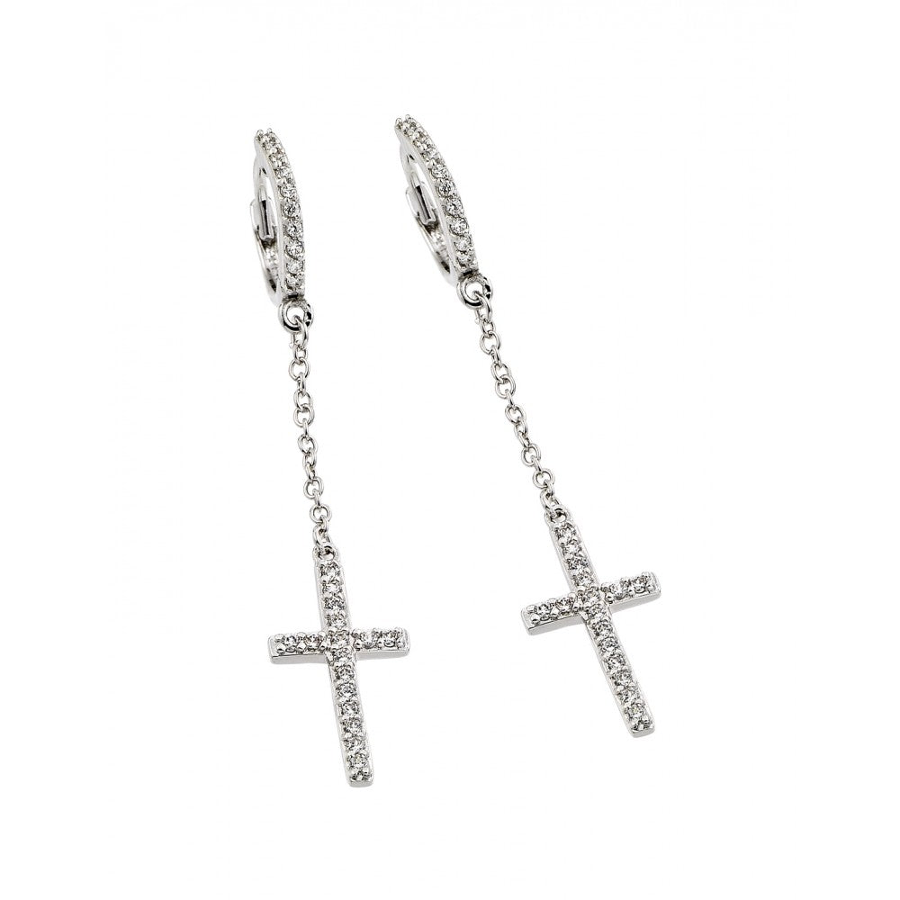Sterling Silver 925 Rhodium Plated Round Cross Clear CZ Wire Dangling Huggie Earrings