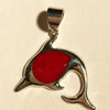 Enhanced Sponge Coral Dolphin Silver Pendant one of a kind