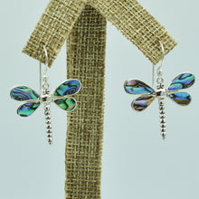 Load image into Gallery viewer, Abalone Sterling Silver Dragonfly Earrings