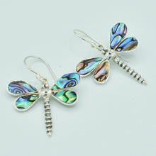 Load image into Gallery viewer,  Abalone Sterling Silver Dragonfly pierced  Earrings. Fish hook dangle earrings