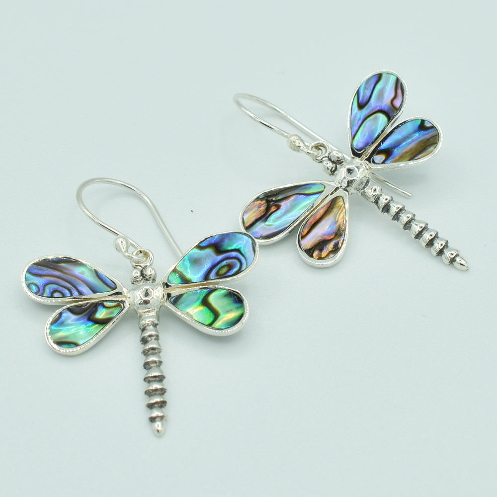Abalone Sterling Silver Dragonfly pierced  Earrings. Fish hook dangle earrings