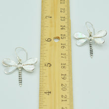 Load image into Gallery viewer, Mother of Pearl Sterling Silver Dragonfly Earrings