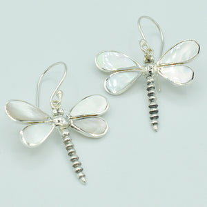 Mother of Pearl Sterling Silver Dragonfly Earrings