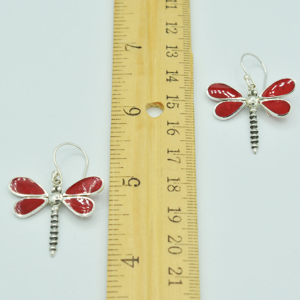 Red Coral Sterling Silver Dragonfly Earrings