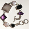 Druzy Pearl Amethyst and faceted Onyx Sterling Silver Toggle Bracelet