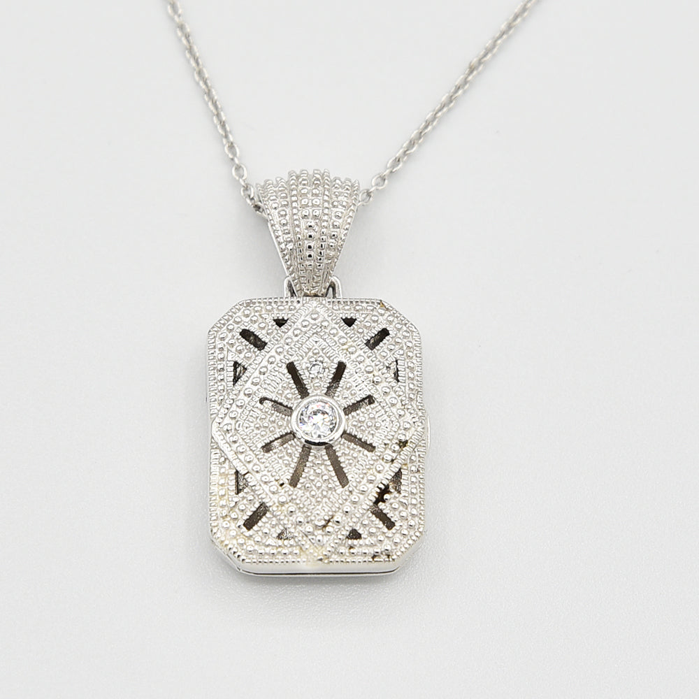 Image of Sterling Silver Locket with Cubic Zirconia (CZ) Rectangle shape