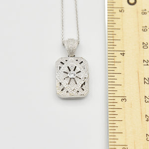 Sterling Silver Locket with Cubic Zirconia (CZ) Rectangle shape