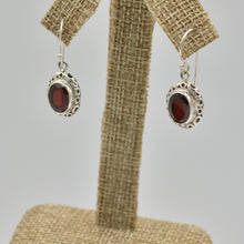 Load image into Gallery viewer, Garnet Sterling Silver Earrings