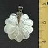 Hand Carved Mother of Pearl Sterling Silver Flower Pendant