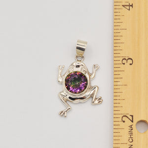 Sterling Silver Mystic Topaz Frog Pendant
